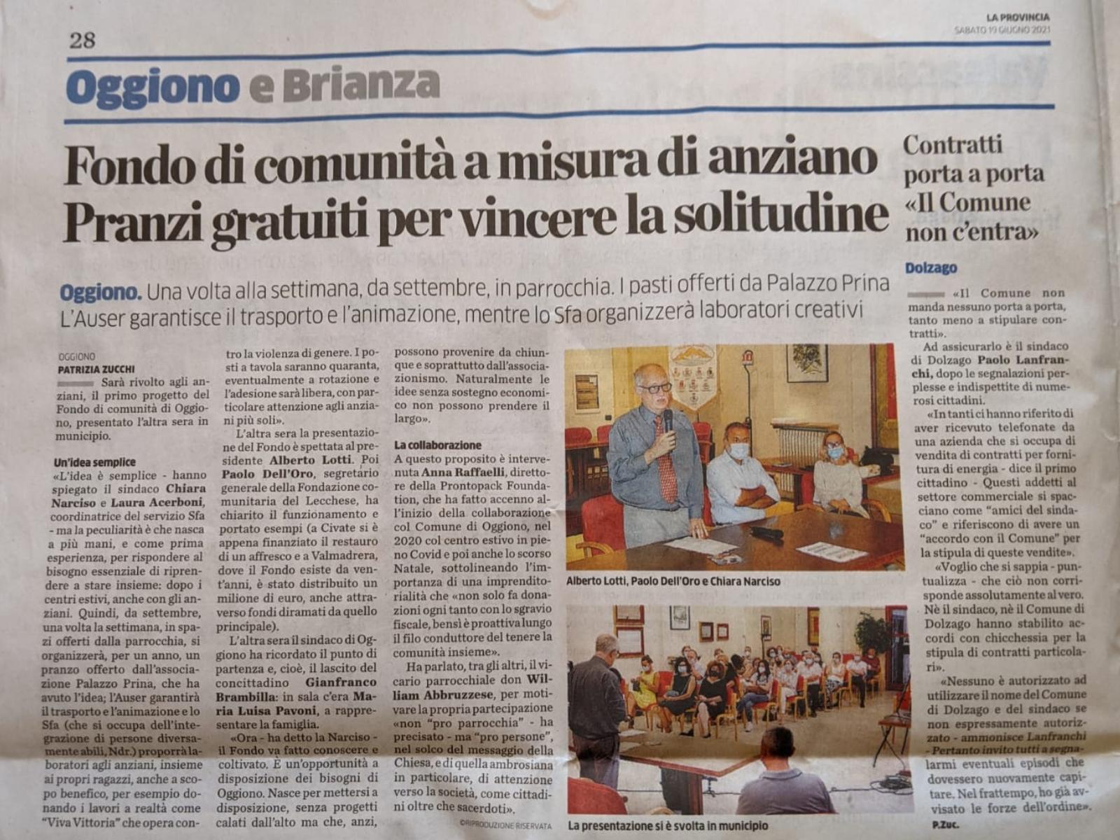 """Articolo """"La Provincia"""""""
